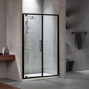 Devon Primus Plus Pivot+Infill Black Matt PIR110C-400+2xD3 114-117x195cm Clean Glass Πόρτα Ντουζιέρας Με 1 Σταθερό & 1 Ανοιγόμενο Φύλλο