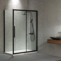 Flow Slider (1+1) SLF+SPF Black Matt Clean Glass 195 cm